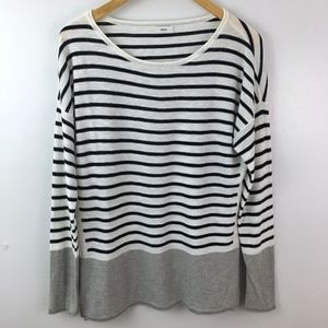 Vince Striped Knit Long Sleeve Top